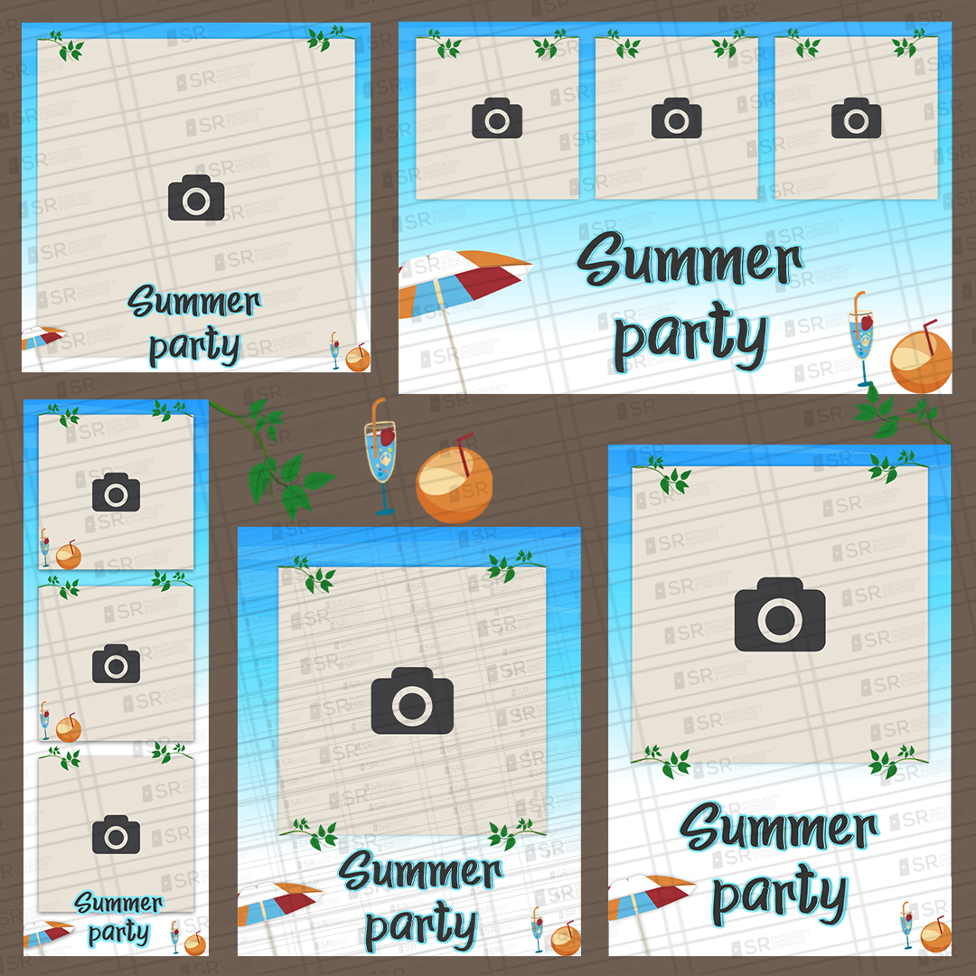 Summer Beach party templates br SR Photo Booth Animation and Graphics