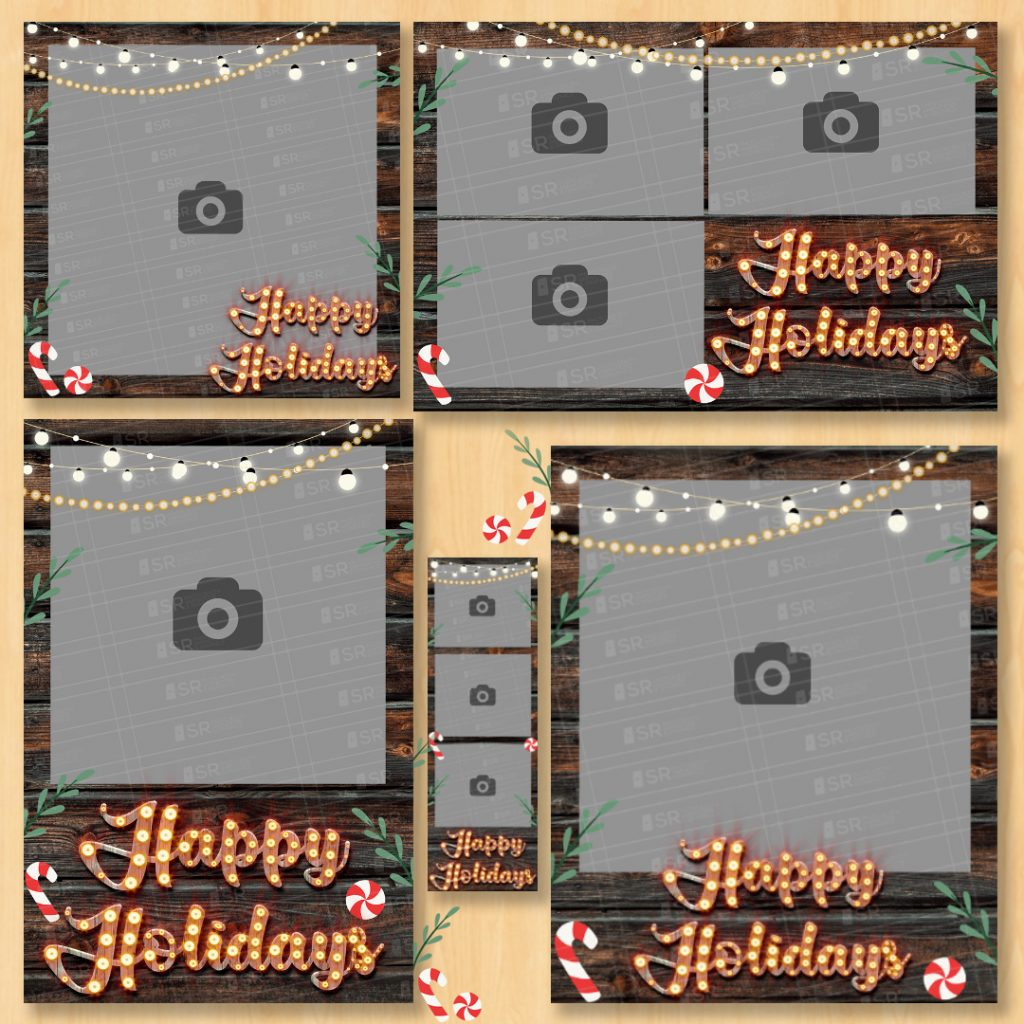 Happy Holidays wooden style Template